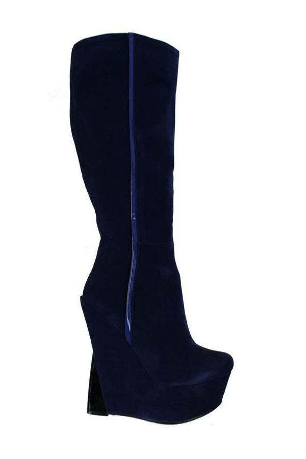 WHD121 BOOT SUEDE PLATFORM BLUE