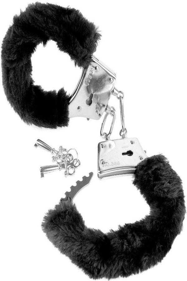 HANDCUFFS METALLIC BLACK FUR KEY SILVER DRED3800