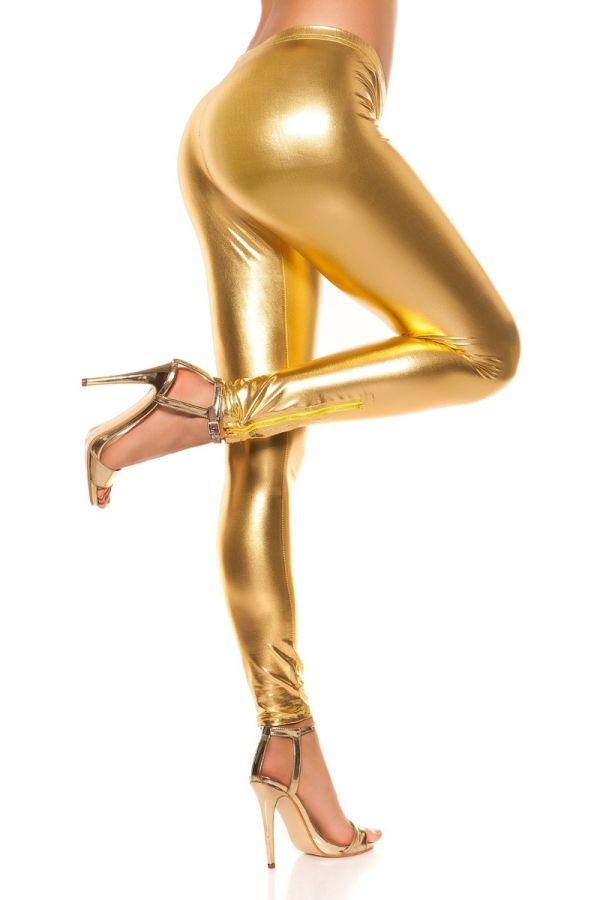 κολάν wetlook φερμουάρ χρυσό.