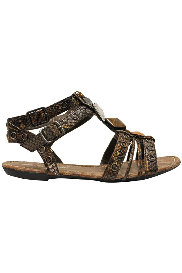 flat sandal with straps and stones brown