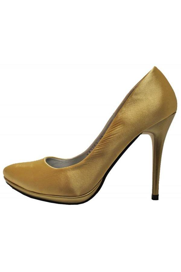 satin evening pump gold