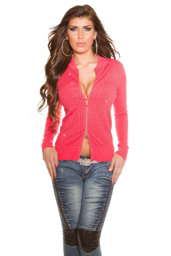 CARDIGAN KNITTED ZIPPER STRASS CORAL ISDO156614