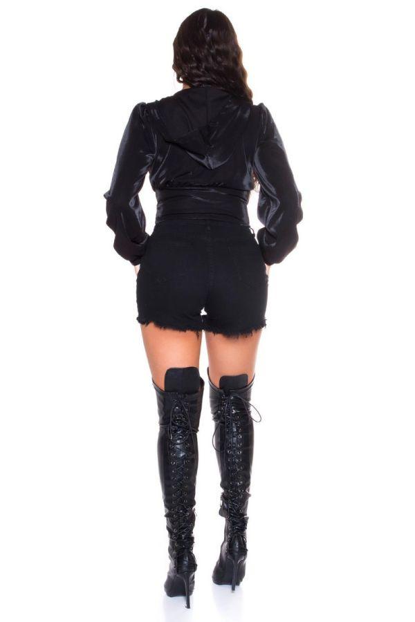 μπουφάν κοντό σέξι κουκούλα μαύρο.
