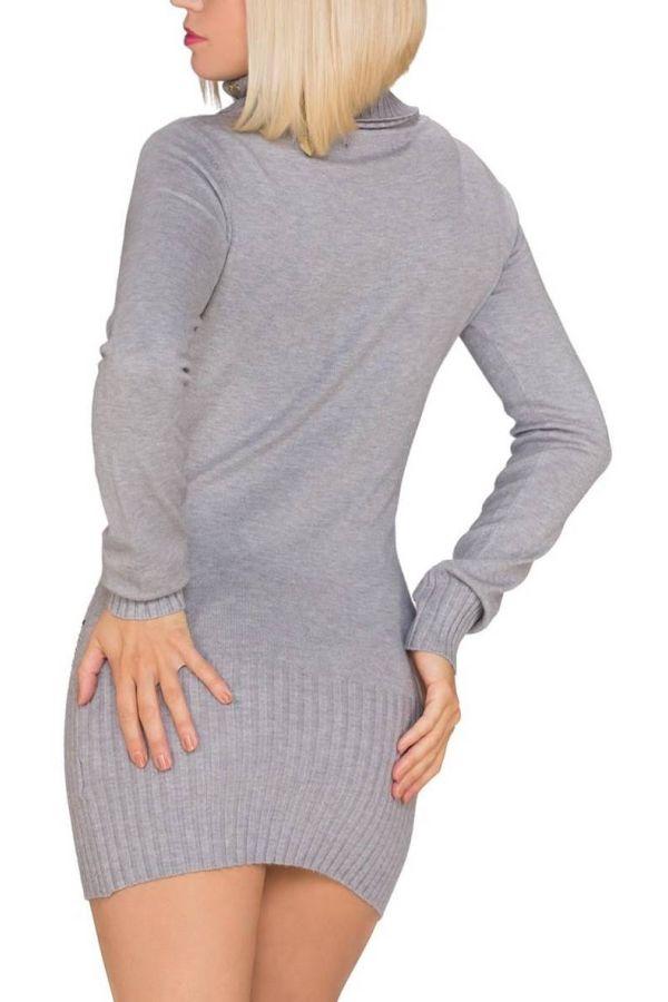 Dress Knitted Turtle Neck Golden Stones Zip Grey QQ1419536
