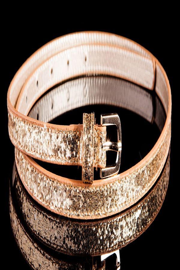 WAIST BELT THIN GLITTER BROWN GOLD ISDY1101
