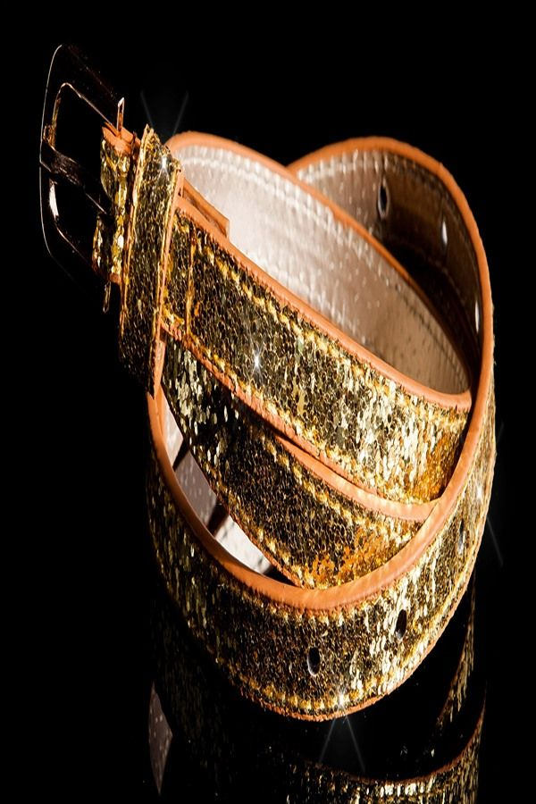 WAIST BELT THIN GLITTER GOLD ISDY1101
