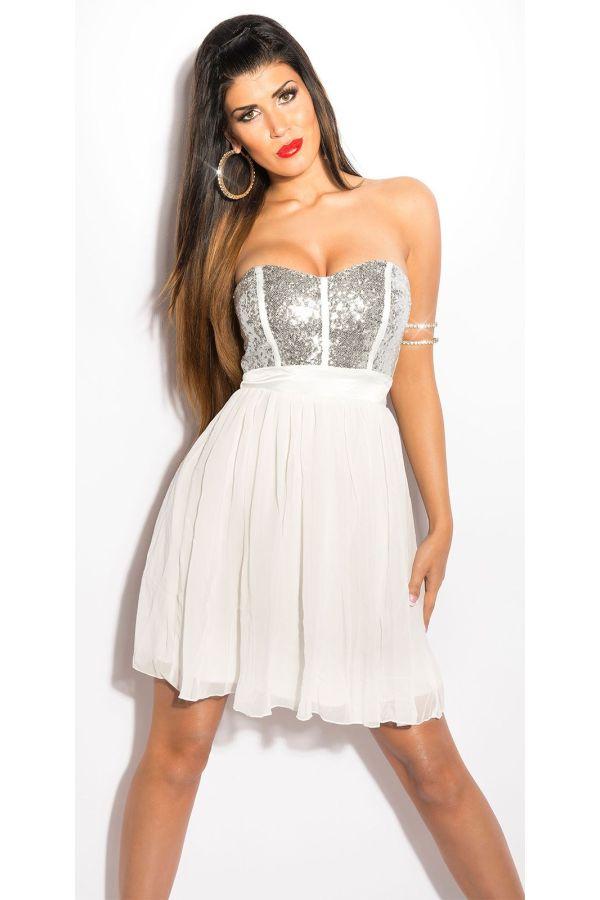 κοντό στράπλες φόρεμα με βολάν στη φούστα λαμπερό τοπ από παγιέτες άσπρο