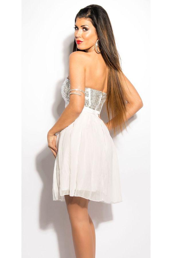 κοντό άσπρο αμπιγιέ στράπλες βραδινό φόρεμα βολάν φούστα λαμπερό τοπ παγιέτες