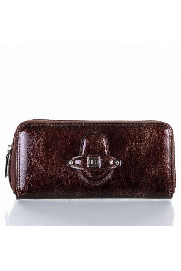 γυναικείο πορτοφόλι laura biagiotti γνήσιο με θήκες σκούρο καφέ