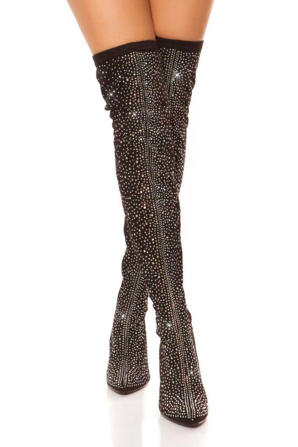 μπότες ψηλές γόνατο στρας μαύρες
