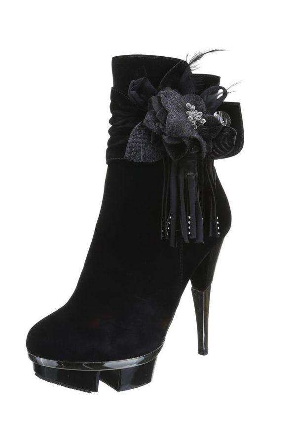 high heels σουέντ μποτάκι διακοσμημένο με φτερά και στράς ασημί τακούνι μαύρο